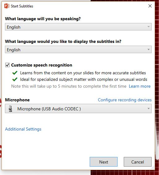 This is the dialog box you see when you start the subtitling mode.