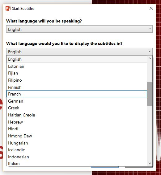 This screen shot of the dialog box shows some of the languages you can display your subtitles in.
